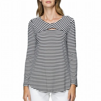The Long Sleeve Slit Front Tee is an on trend update on a stylish classic!                                                                                       In a quality stretch jersey this fine striped tee features a slit front at                                                                                       a rounded neckline and a comfortable A line shape to the bodice which                                                                                            falls gently down and away from the bodice. Model wears Size S and stands 178cm                                                                                  tall. Hem finishes just past the hips on most. Available in Black & White or                                                                                     Navy & White.