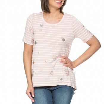 The Spot Stripe Tee by Threadz is a stunning fluid viscose tee featuring                                                                                         silver sequine circle embellishments and metallic printed circles all                                                                                            over. Available in two colourways throughout the season - Blue and white, and                                                                                    Pink and White.