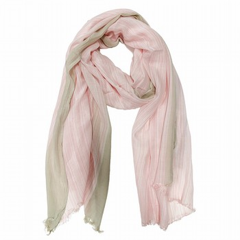 The Cross Stitch Scarf by Gordon Smith is a super light-weight                                                                                                   fluid viscose scarf featuring a variegated pale pink and white stripe                                                                                            with a pale beige horizontal edge.                                                                                                                               200cm x 100cm.