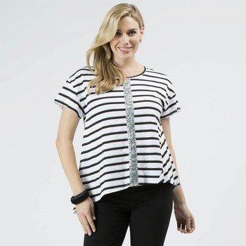 Stripe Sequin Trim Tee