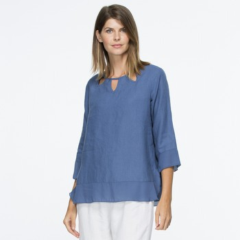 Leaf Cutout Linen Top | Tuggl