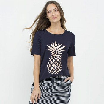 Pineapple Metallic Print Tee