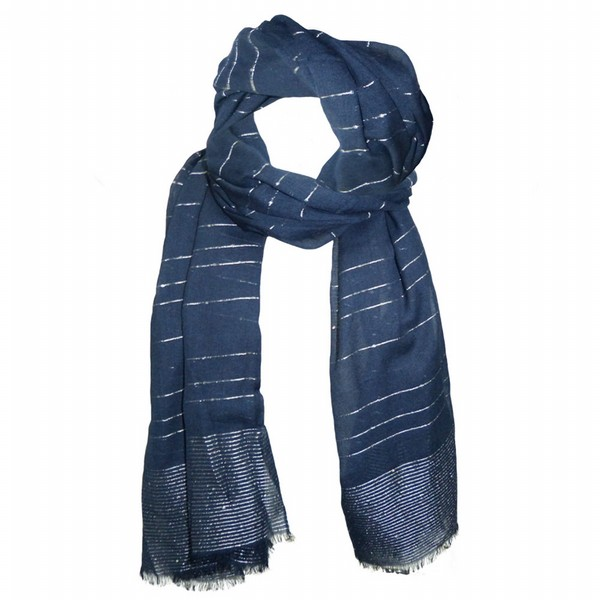 Navy Metallic Scarf