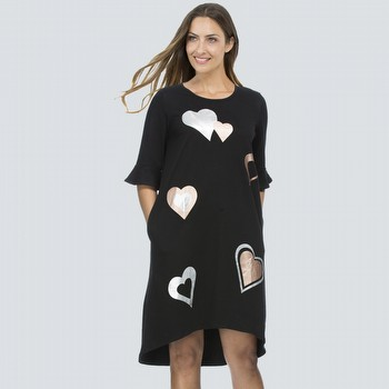 Metallic Heart Print TShirt Dress