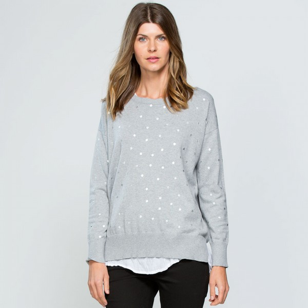 Silver Spot Cotton Knit Top