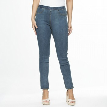 The Full Length Pull On Jean by Threadz - Fashion that fits your everyday!                                                                                       This pull-on denim pant features a super soft stretch denim, top stitch                                                                                          seam detailing, a straight leg fit and a comfortable elastic waistband.                                                                                          Available in Denim, White and Black throughout the season.