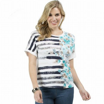 The Stripe & Floral Print Tee by Threadz