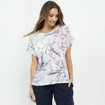 Print & Lace Sequin Tee
