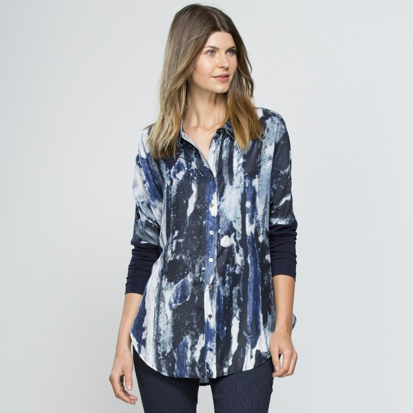 Blue Water Print Shirt