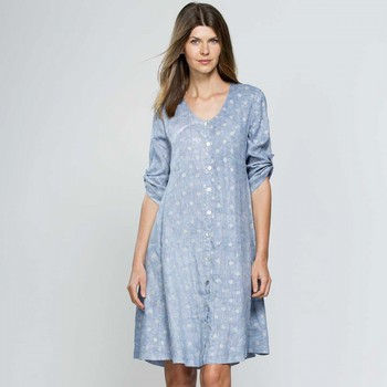 Metallic Spot Linen Dress