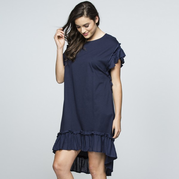 Ruffle Seam Cotton Dress