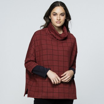 Checked Cowl Neck Top