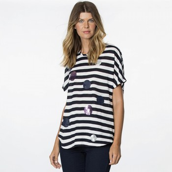 Embellished Stripe Cotton Blend Tee