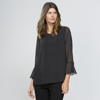 Pin Spot Ruffle Sleeve Top