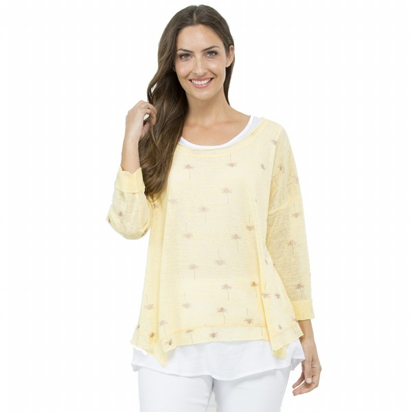 Lemon Palm Tree Print 2 in 1 Top