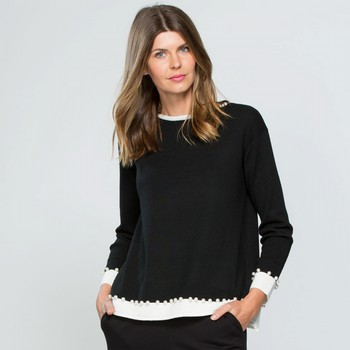 Pearl Trim Cashmere Blend Knit Top