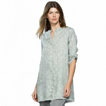 Metallic Spot Linen Shirt
