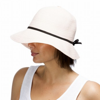 The Straw Bucket Hat from the Threadz Accessories Collection.                                                                                                     This is a handy synthetic straw hat with an easy adjustable headband, a medium                                                                                   sized brim and pretty folded detailing at the back with a black bow trim.                                                                                        Fits head size 56cm-58cm. Available in pale blue, pale pink and natural. Easily                                                                                  folded for travel and storing in the handbag, beach bag or golf bag.                                                                                             Brim measures 8cm.