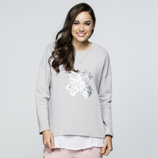 Silver Embellished Cotton Top