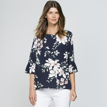 Floral Ruffle Sleeve Top