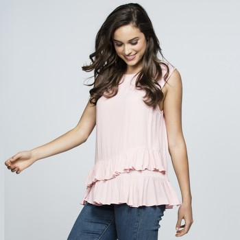 Sleeveless Frilled Hem Top