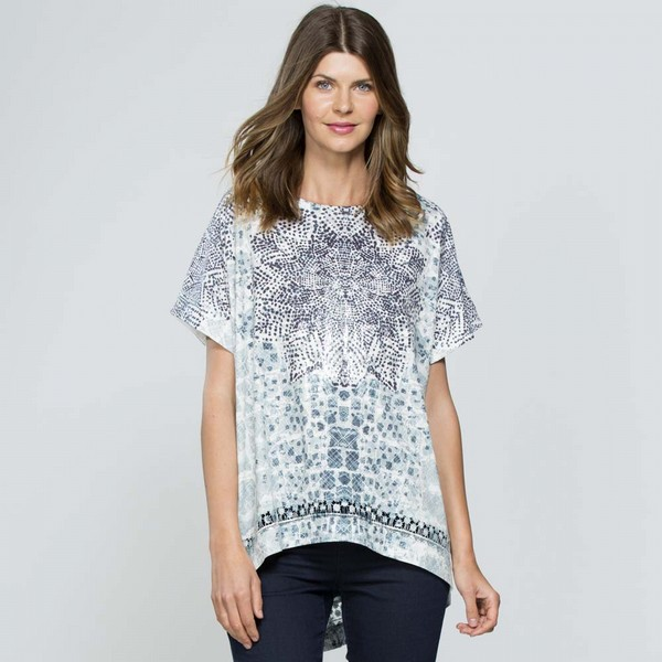 Embellished Print Top