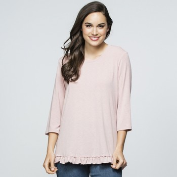 Ruffle Trim Jersey Top