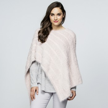 Faux Fur Knit Poncho - One Size Fits All