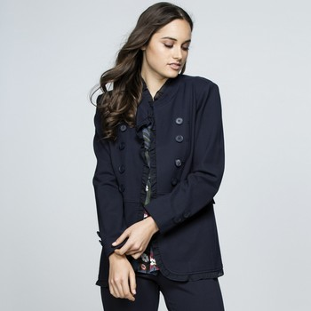 Frilled Hem Stretch Ponte Jacket