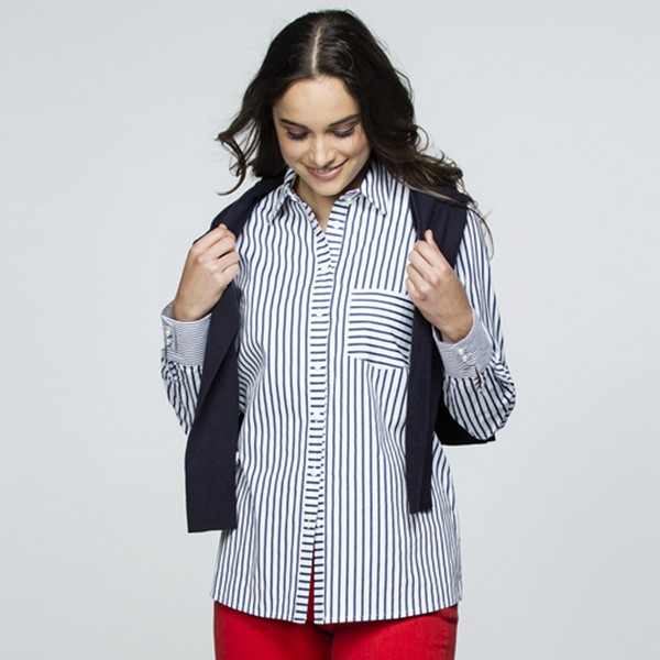 Angled Stripe Cotton Shirt