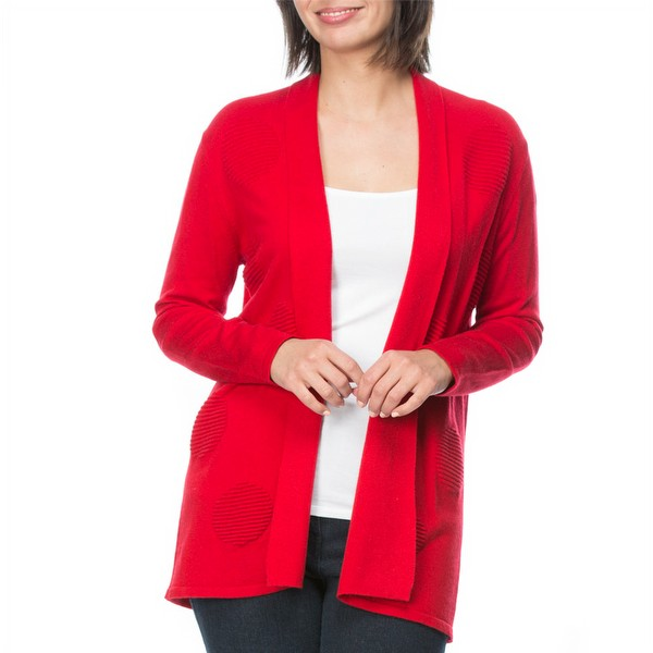 Wool Blend Spot Knit Cardigan