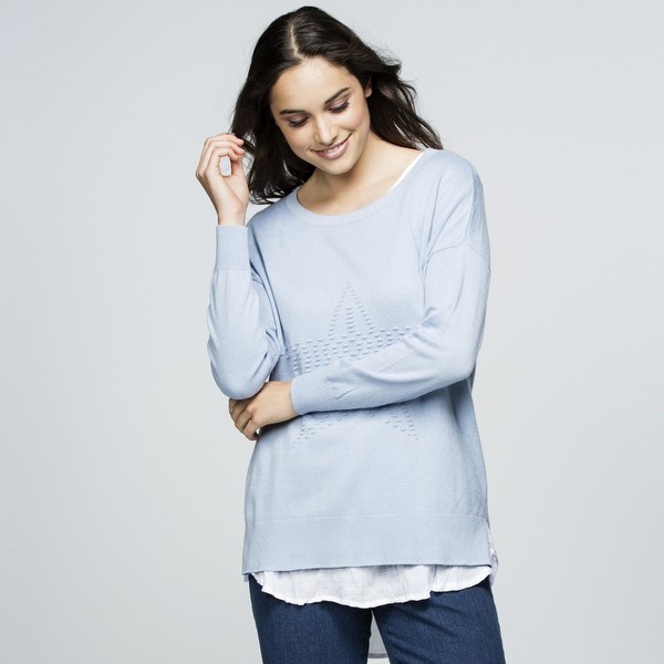 Wool Blend Star Front Knit