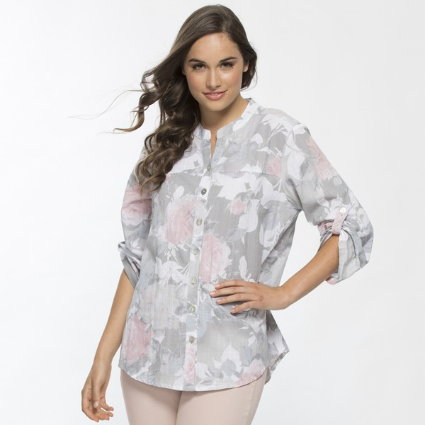 Rose Print Nehru Collared Shirt