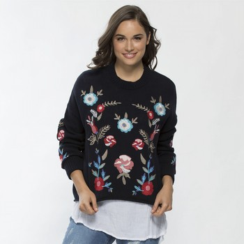 Cotton Floral Embroidered Knit