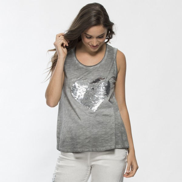 Sequinned Heart Sleeveless Cotton Top