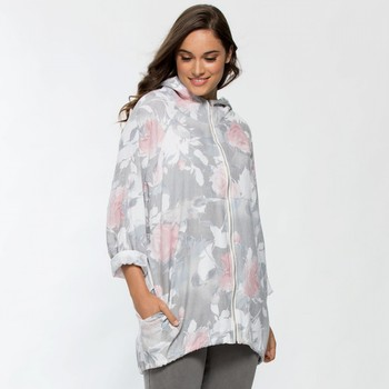 Rose Print Zip Front Jacket