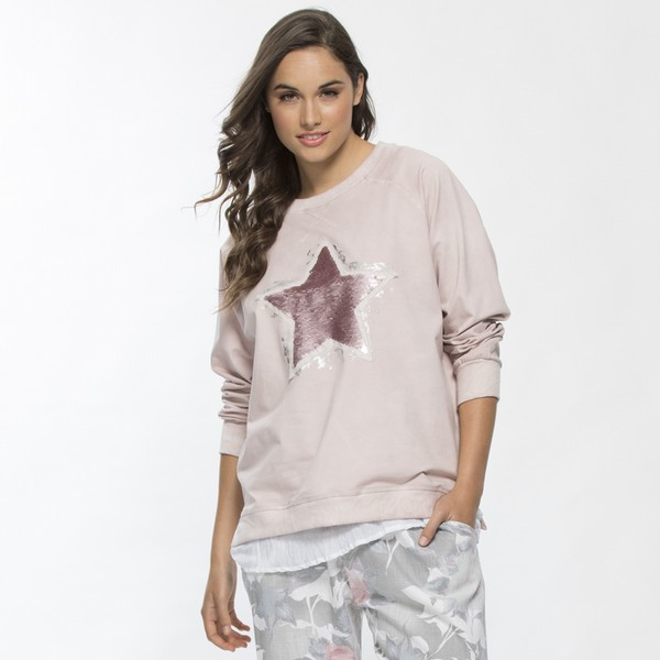 Sequin Star Embellished Cotton Top