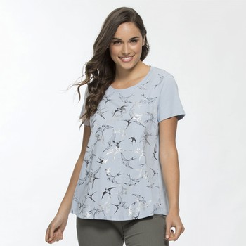 Metallic Bird Print Tee