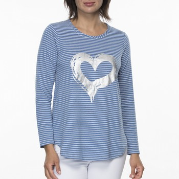 Stripe Silver Heart Long Sleeve Tee