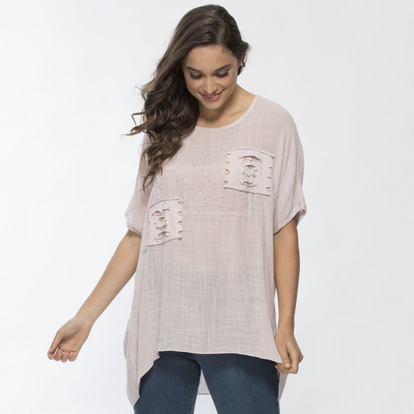 Applique Linen Blend Top