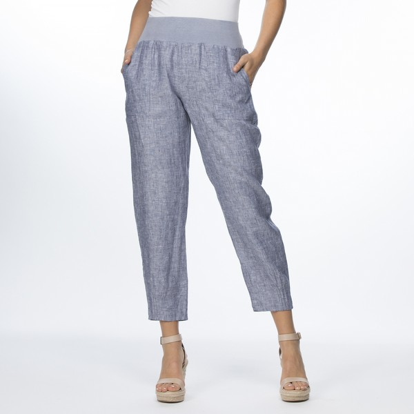 Pleat Hem Detail Linen Pant