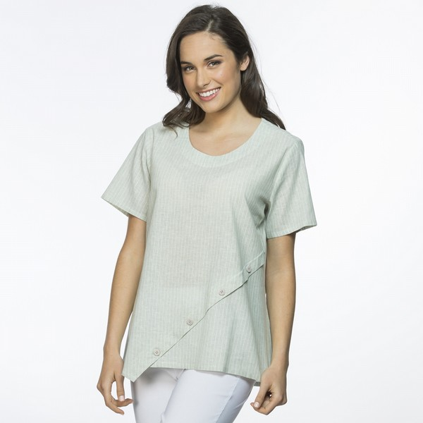 Stripe Angled Button Linen Top