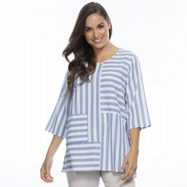 Spliced Stripe Cotton Top