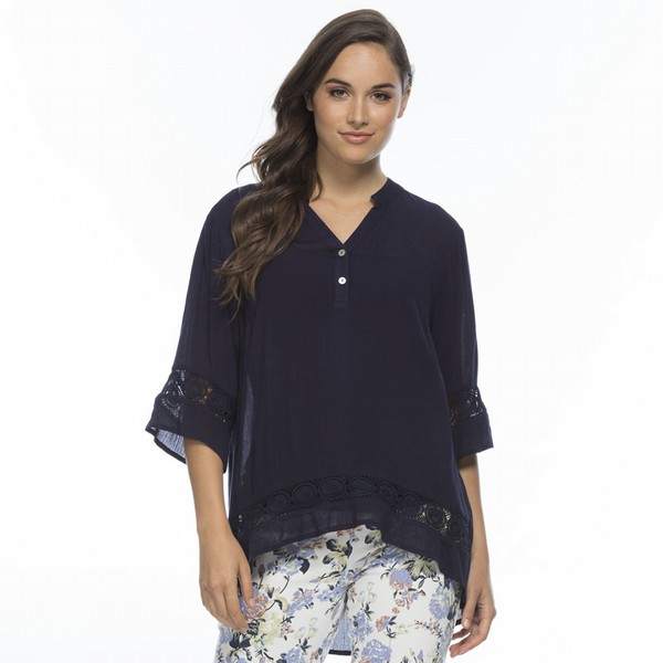 Lace Trim Kaftan Top