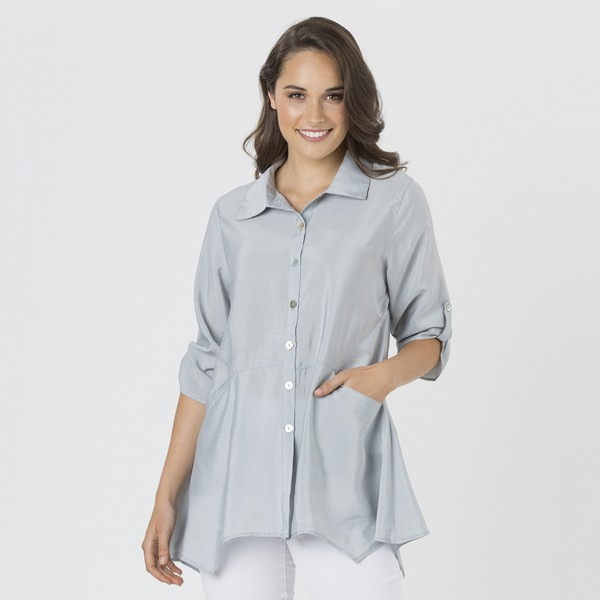 Tab Sleeve Arc Hem Shirt