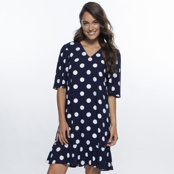 Navy & White Spot Dress