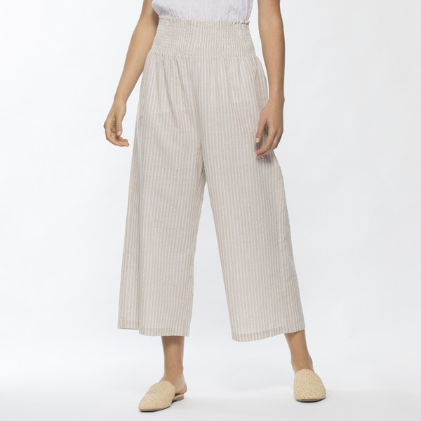 Shirred Waist Cotton & Linen Stripe Pant
