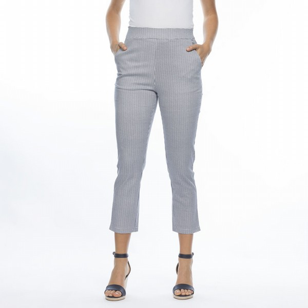 Stretch Cotton Check Print Pant