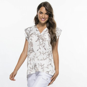 Floral Print Capped Sleeve Top