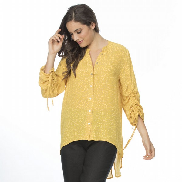 Pin Spot Ruched Sleeve Shirt